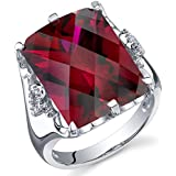 16.00 Carats Created Ruby Ring Sterling Silver Radiant Cut Sizes 5 to 9
