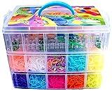 Kit loom bo�te 10000 �lastiques malette 3 �tage pour cr�e vos bracelets coffret rainbow loom avec m�tier � tisser inclus
