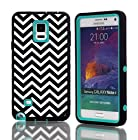 Samsung Galaxy Note4 IV Case, Nika shop Three Hard Piece 3in1 Deluxe Printed Hard Soft High Impact Hybrid Armor Wave pattern Case Cover For Samsung Galaxy Note4 IV (1-Teal)