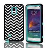 Queens® For Samsung Galaxy Note4 IV Three Hard Piece 3in1 Deluxe Printed Hard Soft High Impact Hybrid Armor Wave pattern Case Cover For Samsung Galaxy Note4 IV (1-Teal)