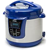 Electric Stainless Steel Pressure Cooker with 13 Functions, 8-Quart, Platinum, Programmable, Blue