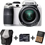 Fujifilm FinePix S4200 White + Case + 16GB Memory + 4 AA Batteries and Charger (14MP, 24x Optical Zoom) 3 inch LCD Screen