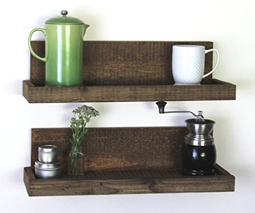 Reclaimed Rustic Wood Floating Shelves- Shallow Depth- Set of 2- Walnut Finish- Woodland Collection