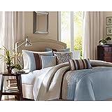 Bella premium quality 400 tc cotton Designer 5 piece bedding set (blue,beige,233.68 Cm X 254 Cm)