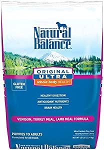 Natural Balance Original Ultra Whole Body Health Venison, Turkey Meal, Lamb Meal Formula for Dogs, 4.5-Pound Bag