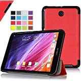IVSO ASUS MeMO Pad 7 ME176CX Ultra Lightweight Slim Smart Cover Case -will only fit ASUS MeMO Pad 7 ME176CX Tablet (Red)