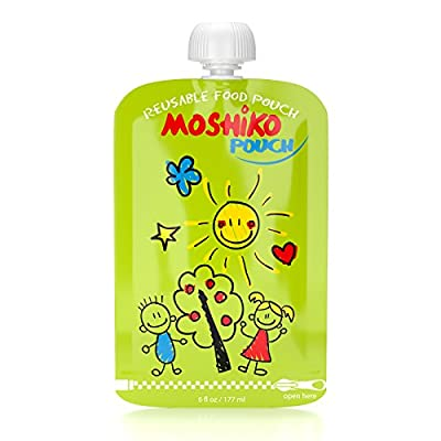 Reusable Food Pouch by Moshiko - Perfect for Homemade and Organic Baby Toddlers Kids and Parents Food On The Go - 8 Large 6oz (177ml) BPA Free - Double Zipper - Easy Cleaning - Easy to Fill - Anti chocking Cap