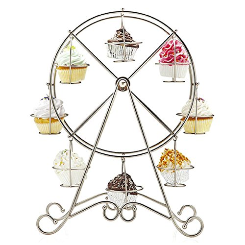 Soled-Alzate-per-Porta-CupcakeMuffinTortineDisegn-di-Ruota-panoramica-Argento-in-Acciaio-Inossidabile-8-Tazzine-Decorazione-per-Display-Matrimonio-Party