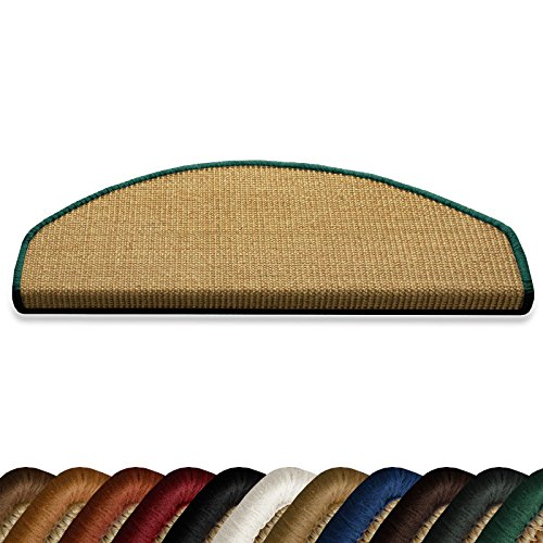 casa-purar-salvador-15x-sisal-stair-carpet-tread-mats-with-green-border-half-moon-235-x-65cm-non-sli