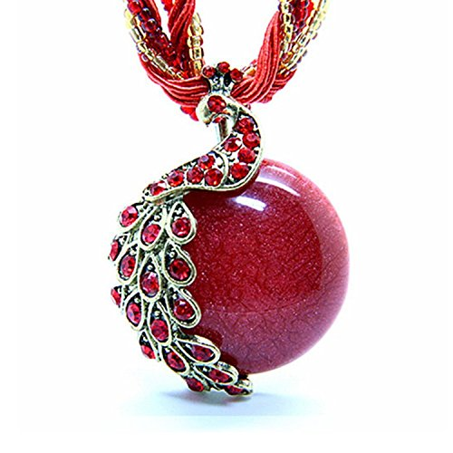 TIRIO Bohemia Vintage National Style Cat's Eye Stone Peacock Necklace (Charming Charlie compare prices)