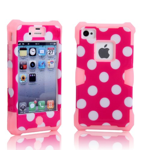 Magicsky Plastic + Silicone Hybrid Polka Dot Pattern Active Glow Case For Apple Iphone 4 4S 4G - 1 Pack - Retail Packaging - Baby Pink/Hot Pink