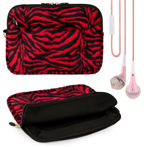 Red Zebra Pull a proof pix Design VG Lushly Faux Fur Sleeve Sufficient for for Kocaso SX9722 / SX9701 / SX9700 9.7-inch Android Tablet + Ashen VG Handsfree Stereo Headphones w/ Windscreen Microphone + SumacLife TM Lore Courage Wristband
