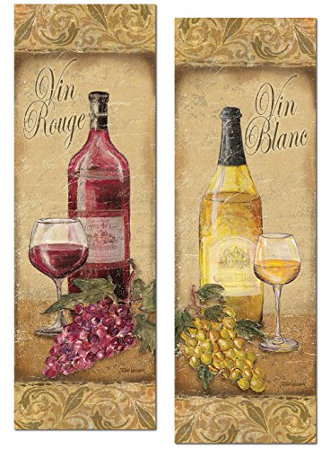 2 Vintage Tuscan White and Red Wine Bottle and Grape Set; Two 6x18in Poster Prints (Grape Wine Posters compare prices)