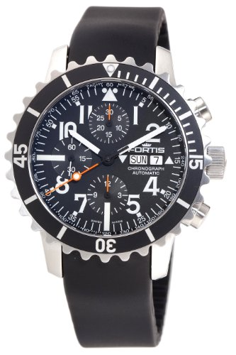 Fortis Men's 671.10.41K B-42 Marinemaster Automatic Chronograph Black Dial Watch