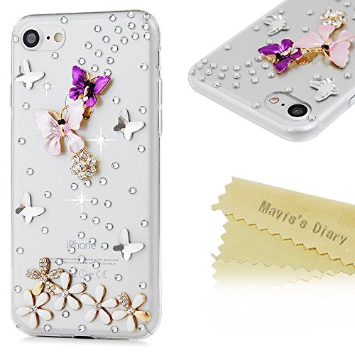 iPhone 7 Case (4.7 inch) - Mavis's Diary 3D Handmade Bling Diamonds Colorful Butterfly with Flowers Lovely Glitter Rhinestone Gems Sparkle Crystal Full Around Protective Clear Hard PC Cover (Rainbow Light Precious Gems compare prices)