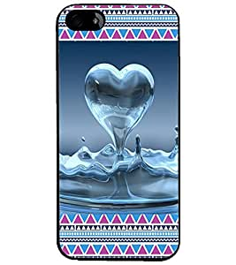 PrintDhaba Water Heart D-4094 Back Case Cover for APPLE IPHONE 4 (Multi-Coloured)