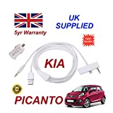 KIA PICANTO iphone 6 connectivity audio 3.5mm Aux & USB Cable with USB Power Adapter