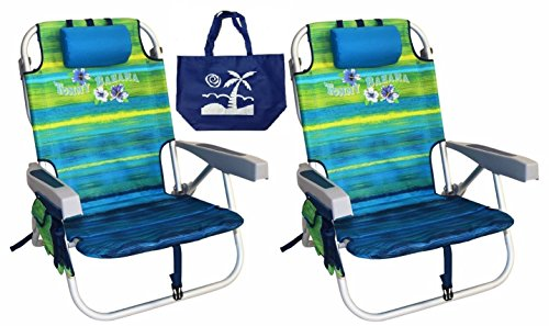 Tommy Bahama Backpack Beach Chairs with One Medium Tote Bag - Pack of 2 - Green (Beach Backpack Cooler compare prices)