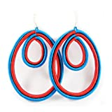 Double Drop Woven Earrings (Red/Blue)