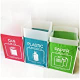 Recycle Bin Separate Recycle Bag Waste Baskets Compartment Container with Inner Frame (3 Bins + 3 Inner Frames)