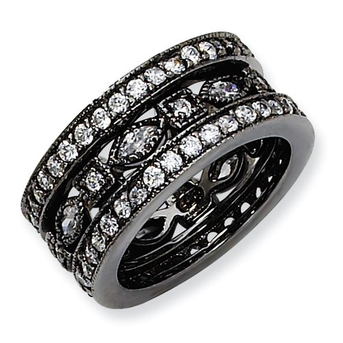 Black-plated Sterling Silver CZ Eternity Three Ring Set Size 6
