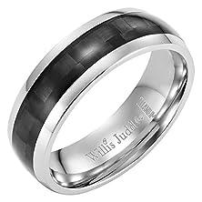 buy Willis Judd Men'S 7Mm Titanium Ring With Black Carbon Fiber Gift Boxed