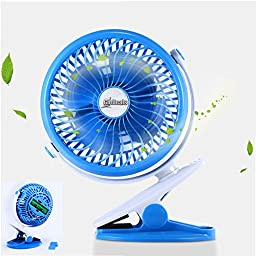 Glodeals 360 Degree Adjustable Air Circulator USB Mini Clip-on Rechargable Li Battery Table Fan Portable Fan for Household Outdoor Camping (Blue)