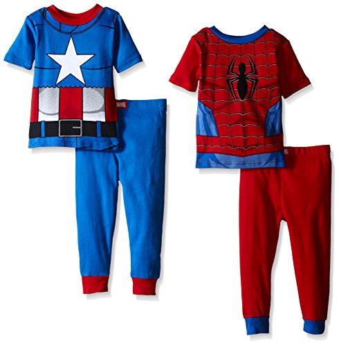 [Marvel Little Boys Captain America and Spiderman City-Savers Uniform 4-Piece Pajama Set Red/Blue 2T] (Captain America Uniform)