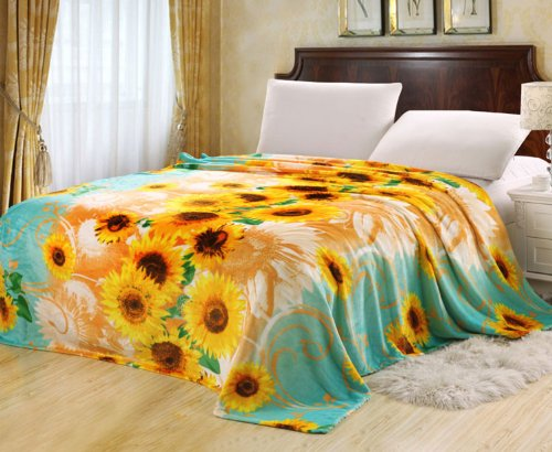 "Euphoria Brand Super Soft Fleece Prints Throw Blanket For Sofa Couch Lounge Bed Bedding Teal Golden Sunflower Queen 71"" X 87"" front-960767"
