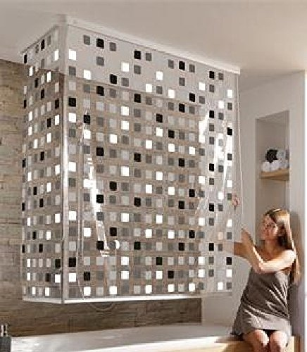 hochwertiges kleine wolke eck duschrollo silber mosaik grau schwarz neu. Black Bedroom Furniture Sets. Home Design Ideas