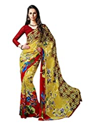 Yellow Color Georgette Printed Saree With Blouse 7037