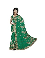 Evoking Green Colored Embroidered Faux Georgette Saree