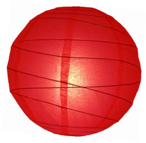 "WeGlow International 14"" Red Free-Style Ribbed Paper Lantern (Set of 2)"