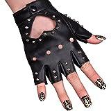 Women PU Leather Motorcycle Bike Car Fingerless Performances Glove