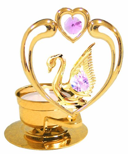 24K Gold Plated Swan In Heart Tea-Light..... With Pink Swarovski Austrian Crystal - 1