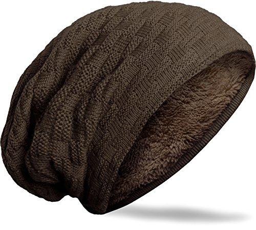 Grin&Bear unisex Long Slouch Beanie knitted fleece inside dark brown M10