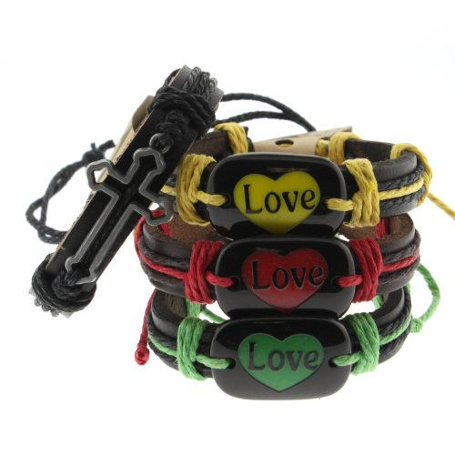 Genuine Dark Leather Bracelets with Cross and