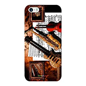 HomeSoGood Musical Saxophone Multicolor 3D Mobile Case For iPhone 5 / 5S (Back Cover)