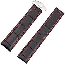 buy 22Mm Genuine Leather Watch Strap Fit Tag Watch Heuer Strap Deployment Clasp Carerra Red Stitching
