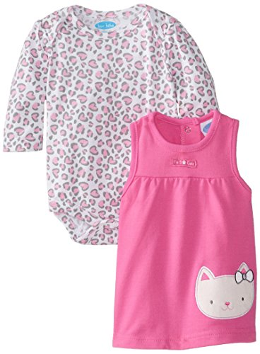Bon Bebe Baby-Girls Newborn Kitty Cat And Animal Print French Terry Jumper With Bodysuit Set, Multi, 6-9 Months front-977340