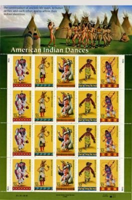 American Indian Dancers 20 x 32 Cent U.S. Postage Stamp