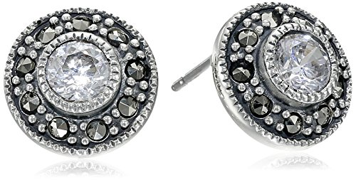 Judith Jack Sterling Silver Cubic Zirconia with Marcasite Pave Stud Earrings (Judith Jack Marcasite Jewelry compare prices)