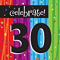 Creative Converting Milestone Celebrations Luncheon Napkins, 16-Count, Celebrate 30