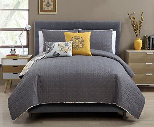 5 Pc Yellow Grey and White Quilt Set Full queen Size