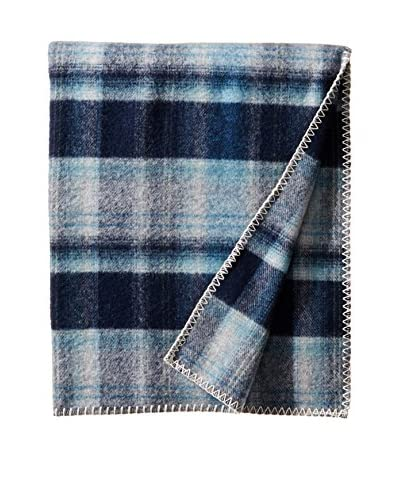 bambeco Classic Plaid Wool Throw, Deep Blue