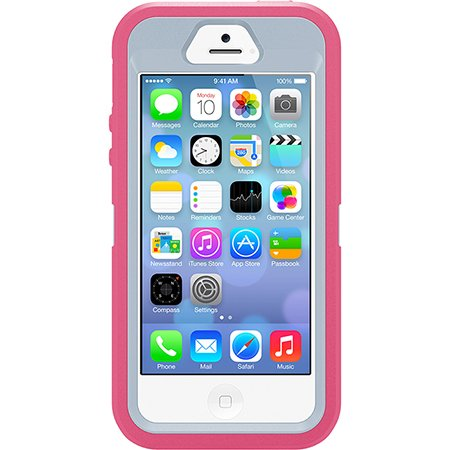 Otterbox Defender Series Case With Holster Clip For Iphone 5S & Iphone 5 - Retail Packaging - (Blaze Pink/Powder Grey)
