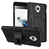 TARKAN Hard Armor Hybrid Bumper KickStand Back Case Cover For OnePlus Three / One Plus 3 [Black]
