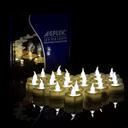 AGPtek Lot 24 Battery Operated LED Warm White Tea Light Candle Flickering Flashing