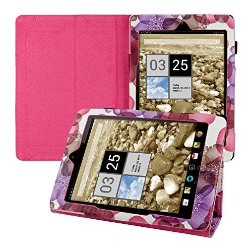kwmobile Hülle für Acer Iconia A1-810 / A1-811 mit Blumen-Design und Ständer - Kunstleder Tablet Case Schutzhülle in Pink Violett