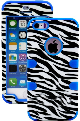 Mylife (Tm) Deep Sky Blue And Black - Zebra Stripes Series (Neo Hypergrip Flex Gel) 3 Piece Case For Iphone 5/5S (5G) 5Th Generation Itouch Smartphone By Apple (External 2 Piece Fitted On Hard Rubberized Plates + Internal Soft Silicone Easy Grip Bumper Ge